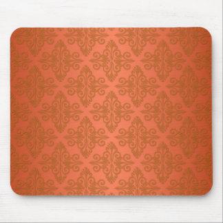 Tangerine Orange Damask Mouse Mat