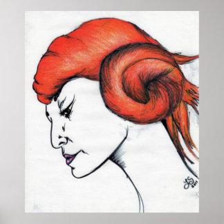Tangerine Orange Haired Girl Art Portrait Poster