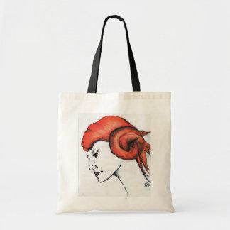Tangerine Orange Haired Girl Art Tote Bag