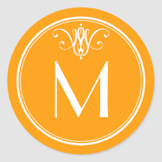 Tangerine Orange Monogram Sticker