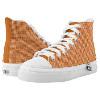 Tangerine Orange Plaid High Top Sneakers