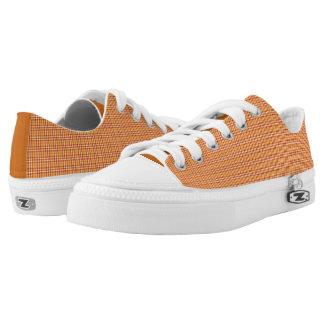 Tangerine Orange Plaid Low Top Sneakers