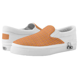 Tangerine Orange Plaid Slip On Sneakers