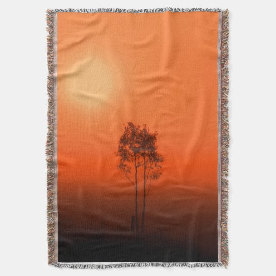 Tangerine Orange Pumpkin Sunrise Afghan Throw Blanket