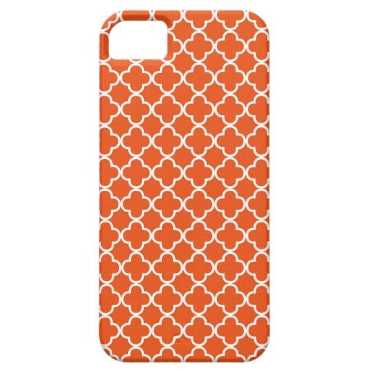 Tangerine Orange Quatrefoil Pattern Case For The iPhone 5