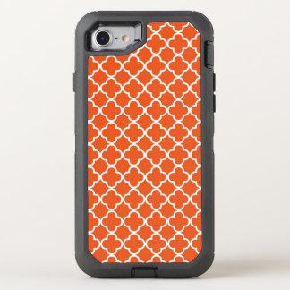 Tangerine Orange Quatrefoil Pattern OtterBox Defender iPhone 8/7 Case