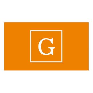 Tangerine Orange White Framed Initial Monogram Pack Of Standard Business Cards