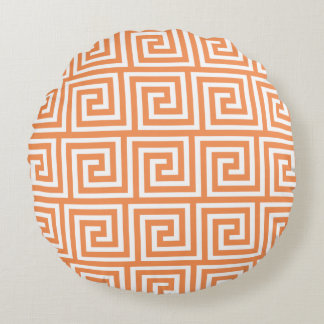 Tangerine Orange White Greek Key Pattern Round Cushion