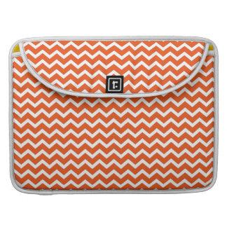 Tangerine Orange Zig Zag Chevrons Pattern Sleeve For MacBook Pro