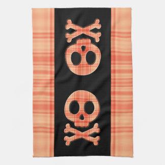 Tangerine Plaid Skull Tea Towel
