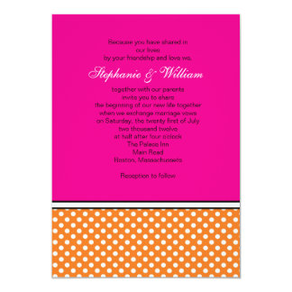 Tangerine Polka Dot and Pink Wedding Invitation
