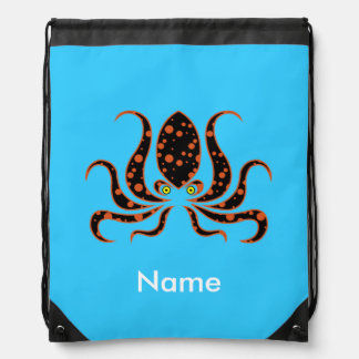 Tangerine Polka Dot Octopus Personalized Drawstring Bag