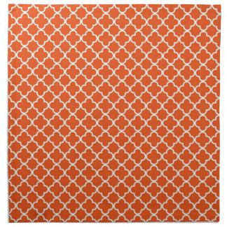 Tangerine Quatrefoil Clover Pattern Napkin