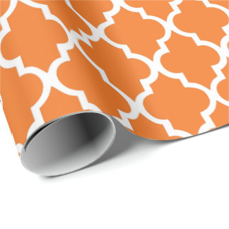 Tangerine Quatrefoil Tiles Pattern Wrapping Paper