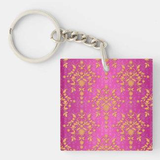 Tangerine Tango Daisy Damask Single-Sided Square Acrylic Key Ring