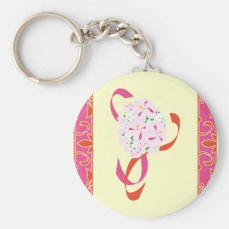 Tangerine Tango, Pink, Damask Wedding Favor Basic Round Button Key Ring