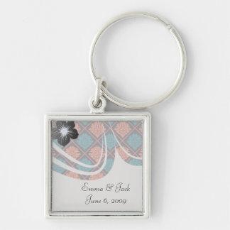 tangerine teal hot pink black damask Silver-Colored square key ring