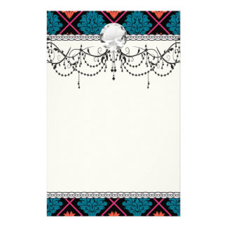tangerine teal hot pink black damask personalized stationery