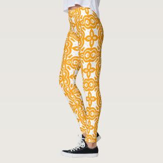 Tangerine & White Graphic Floral Leggings