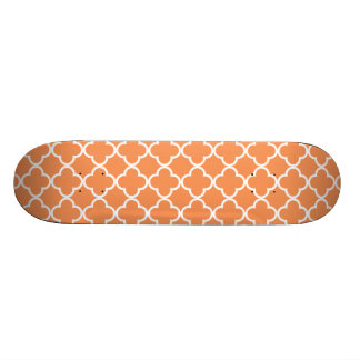Tangerine White Quatrefoil Moroccan Pattern Custom Skate Board