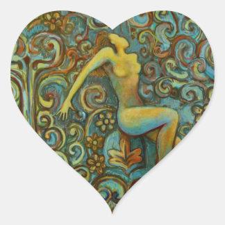 Tangle, Female Figure Art Products Heart Sticker