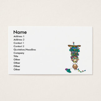 tangled in christmas lights funny cartoon design business card
