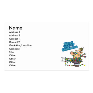 tangled in lights merry bleeping christmas cartoon business card templates