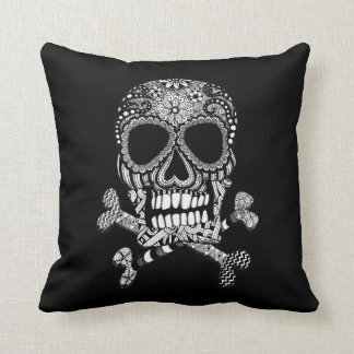Tangled Skull and Crossbones Throw Pillow