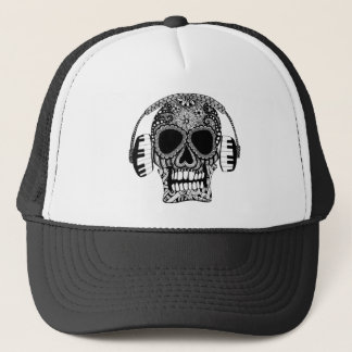 Tangled Skull with Headphones Trucker Hat