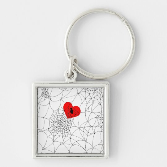 Tangled Web Silver-Colored Square Key Ring