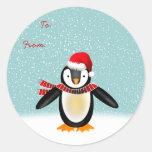 Tango Christmas Gift Tag Round Stickers