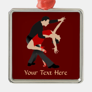 Tango Dancers (customized) Silver-Colored Square Decoration
