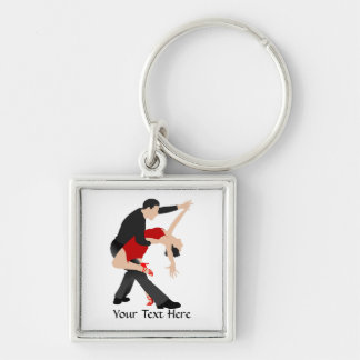 Tango Dancers (customized) Silver-Colored Square Key Ring