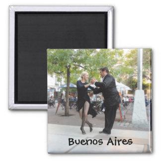 Tango Dancers in Plaza Dorrego Square Magnet