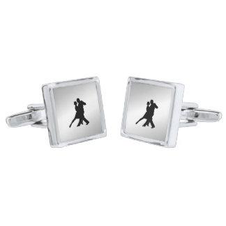 Tango Dancers Silhouette Silver Finish Cufflinks