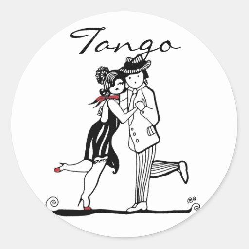 Tango Dancers Round Sticker