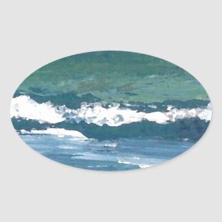 Tango of the Sea Ocean Waves Beach Decor Oval Sticker