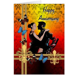 Tango on damask greeting card