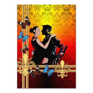 Tango on damask 9 cm x 13 cm invitation card