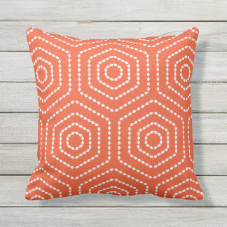 Tango Orange Geometric Pattern Outdoor Pillows