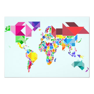 Tangram Abstract World Map Card
