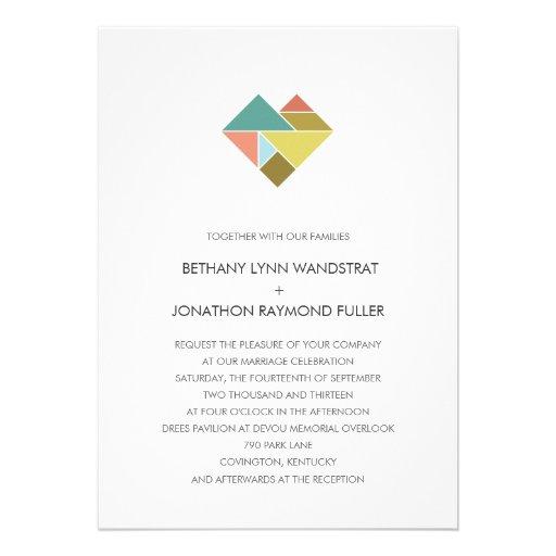 Tangram Heart Wedding Invitation