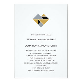 Tangram Heart Wedding Invitation Black Gold Silver