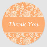 Tangy Orange Floral Swirls Thank You Stickers