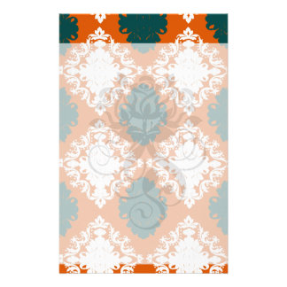 tangy orange teal white damask pattern customized stationery