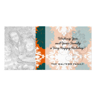 tangy orange teal white damask pattern customized photo card