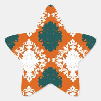 tangy orange teal white damask pattern star sticker