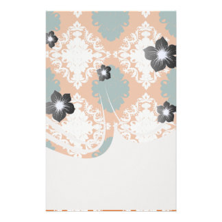 tangy orange teal white damask pattern personalized stationery
