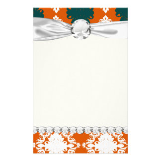 tangy orange teal white damask pattern stationery
