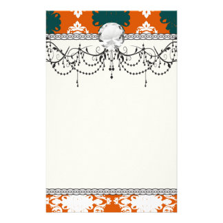 tangy orange teal white damask pattern stationery paper